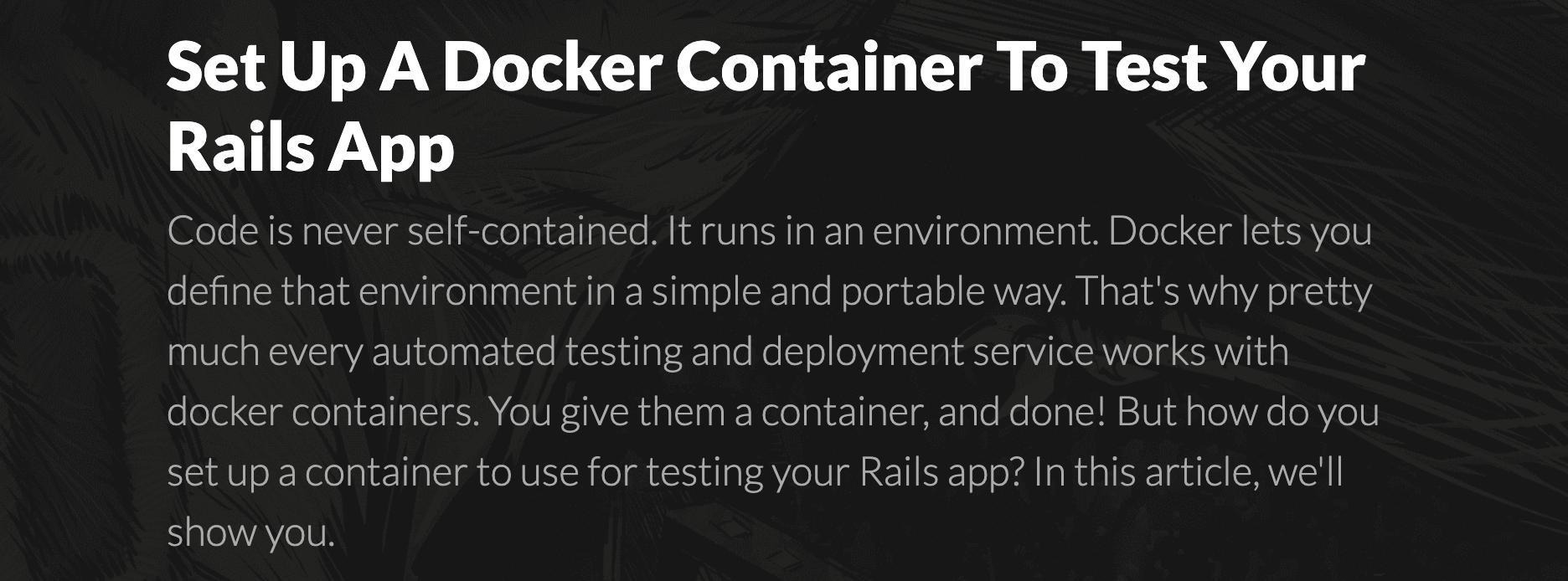 ruby 如何用 docker 来运行或部署,这篇文章很详细
