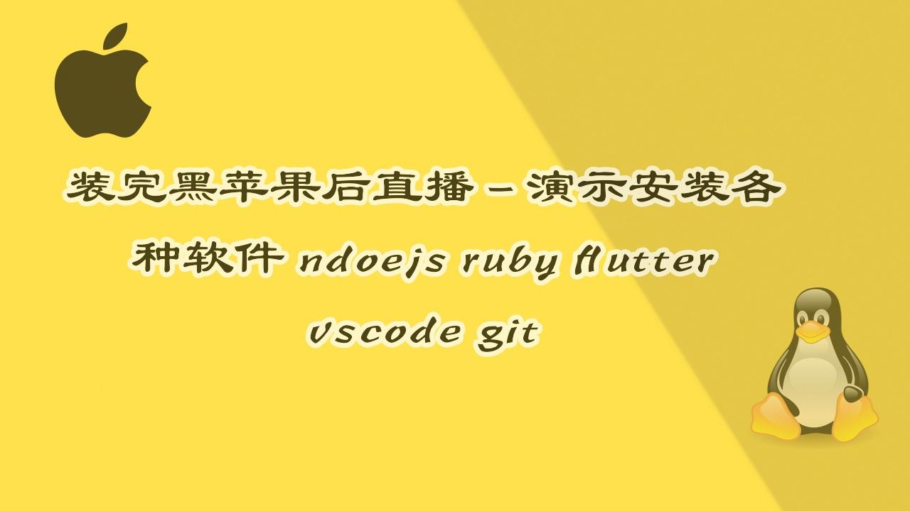 直播录像 - 安装完黑苹果后重新安装各种软件和开发环境 -  Node.js git flutter ruby vscode
