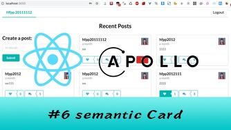 GraphQL + React Apollo + React Hook 大型项目实战 #6 使用 semantic Card 显示 Post