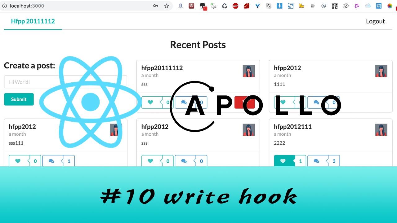 GraphQL + React Apollo + React Hook 大型项目实战 #10 重构代码 - 自定义 hook