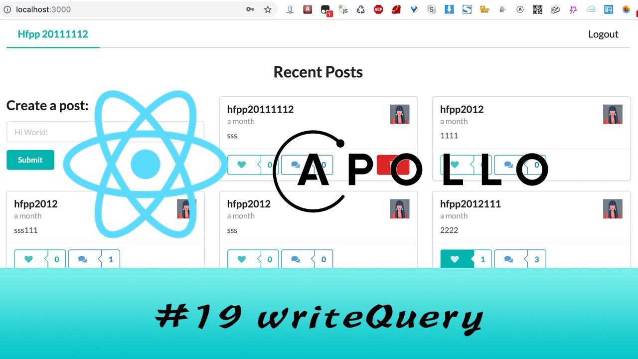 GraphQL + React Apollo + React Hook 大型项目实战 #19 mutation 更新 apollo 的 cache
