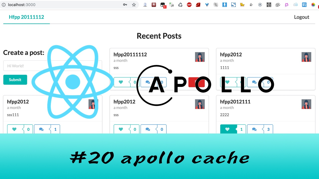 GraphQL + React Apollo + React Hook 大型项目实战 #20 apollo 的 cache