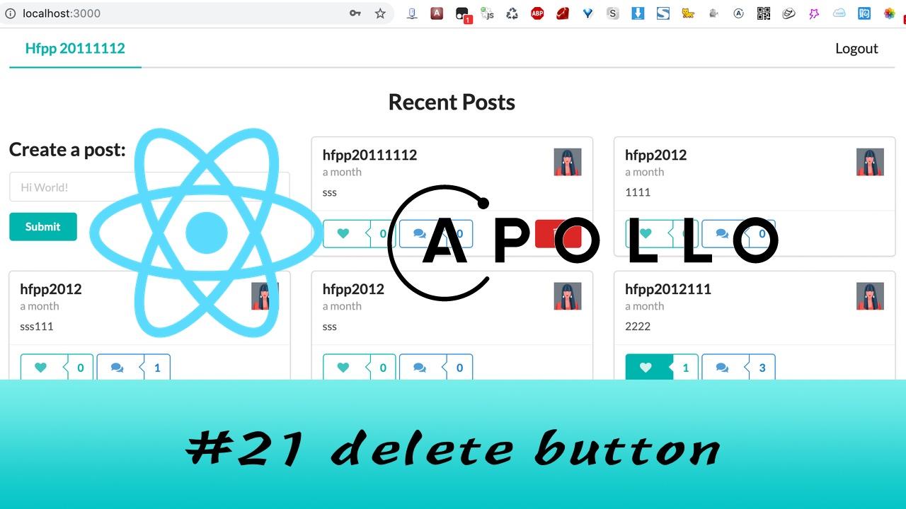 GraphQL + React Apollo + React Hook 大型项目实战 #21 删除 Post 按钮