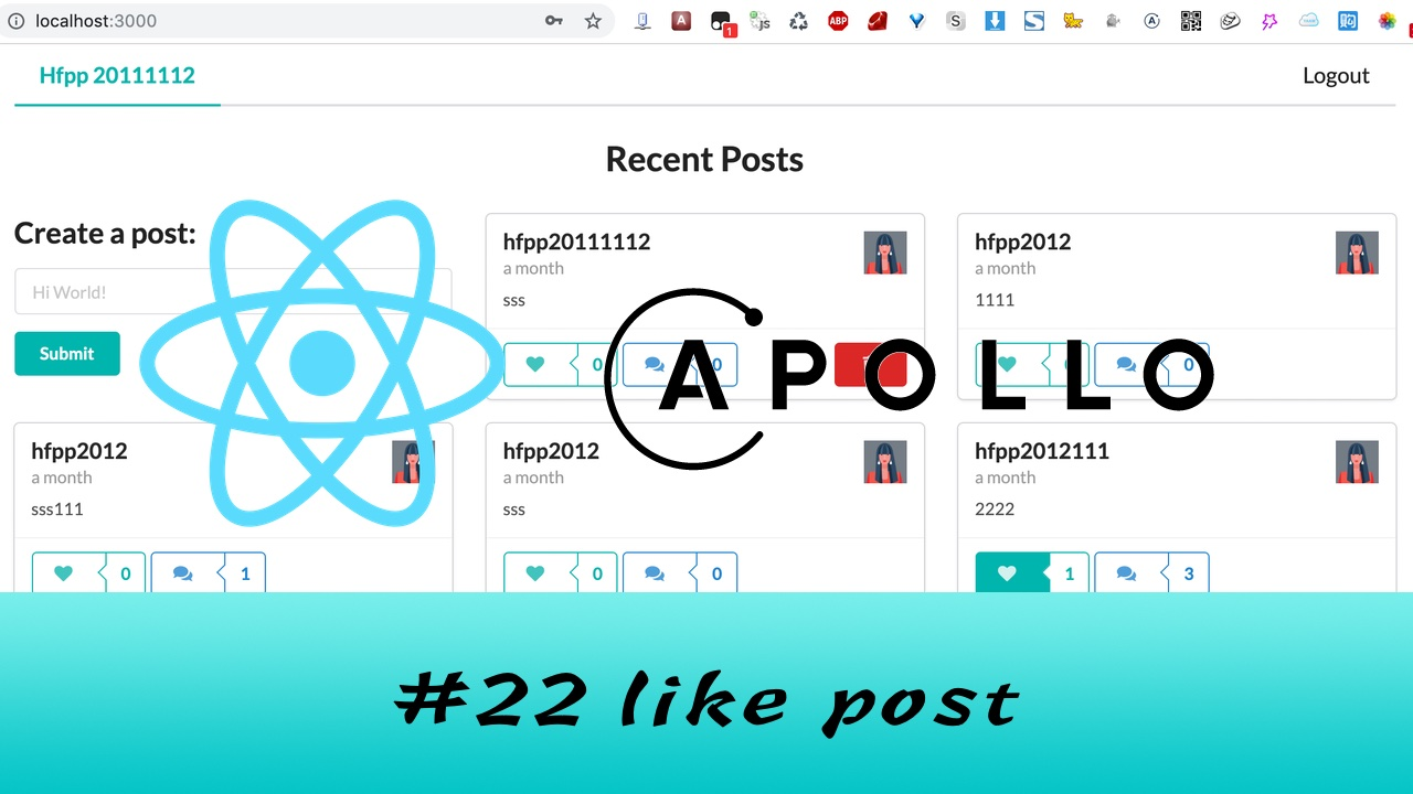 GraphQL + React Apollo + React Hook 大型项目实战 #22 喜欢 Post