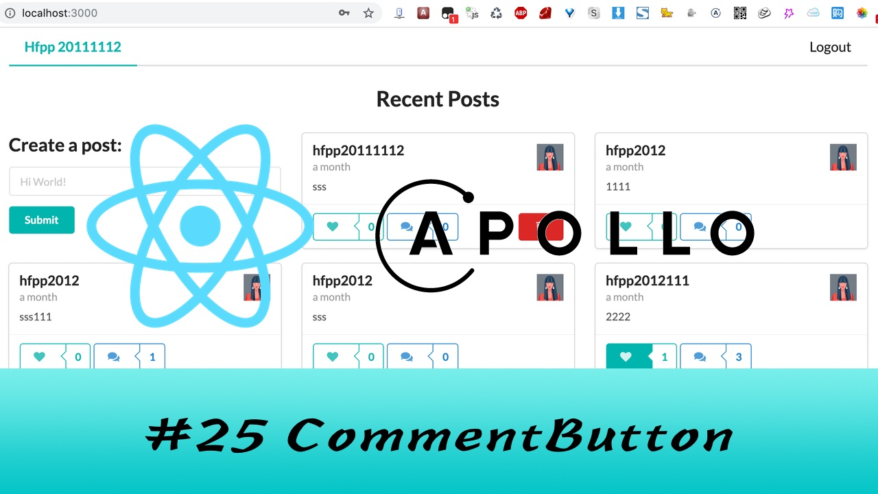 GraphQL + React Apollo + React Hook 大型项目实战 #25 评论按钮
