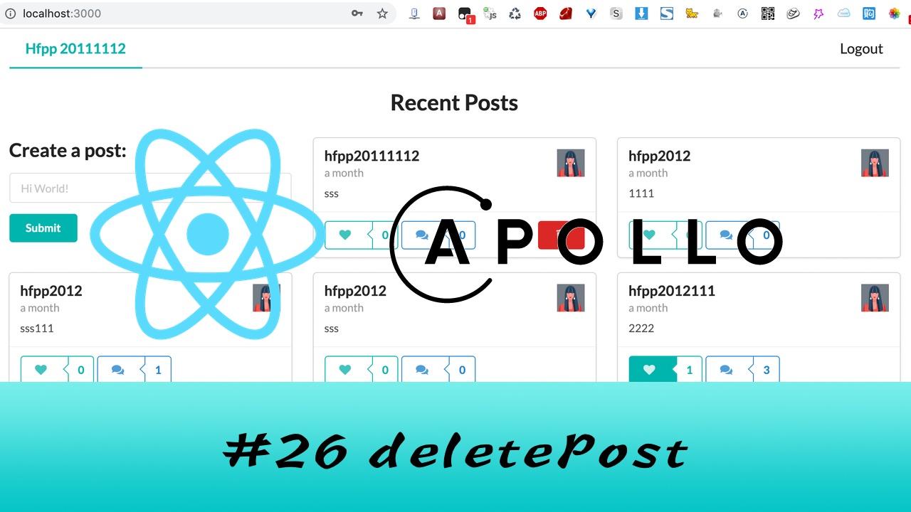 GraphQL + React Apollo + React Hook 大型项目实战 #26 删除 Post(三更)