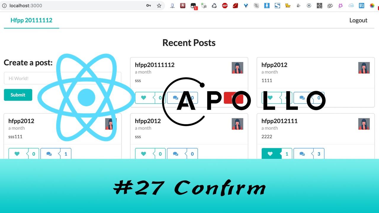 GraphQL + React Apollo + React Hook 大型项目实战 #27 删除 Post - 使用确认框提示(四更)