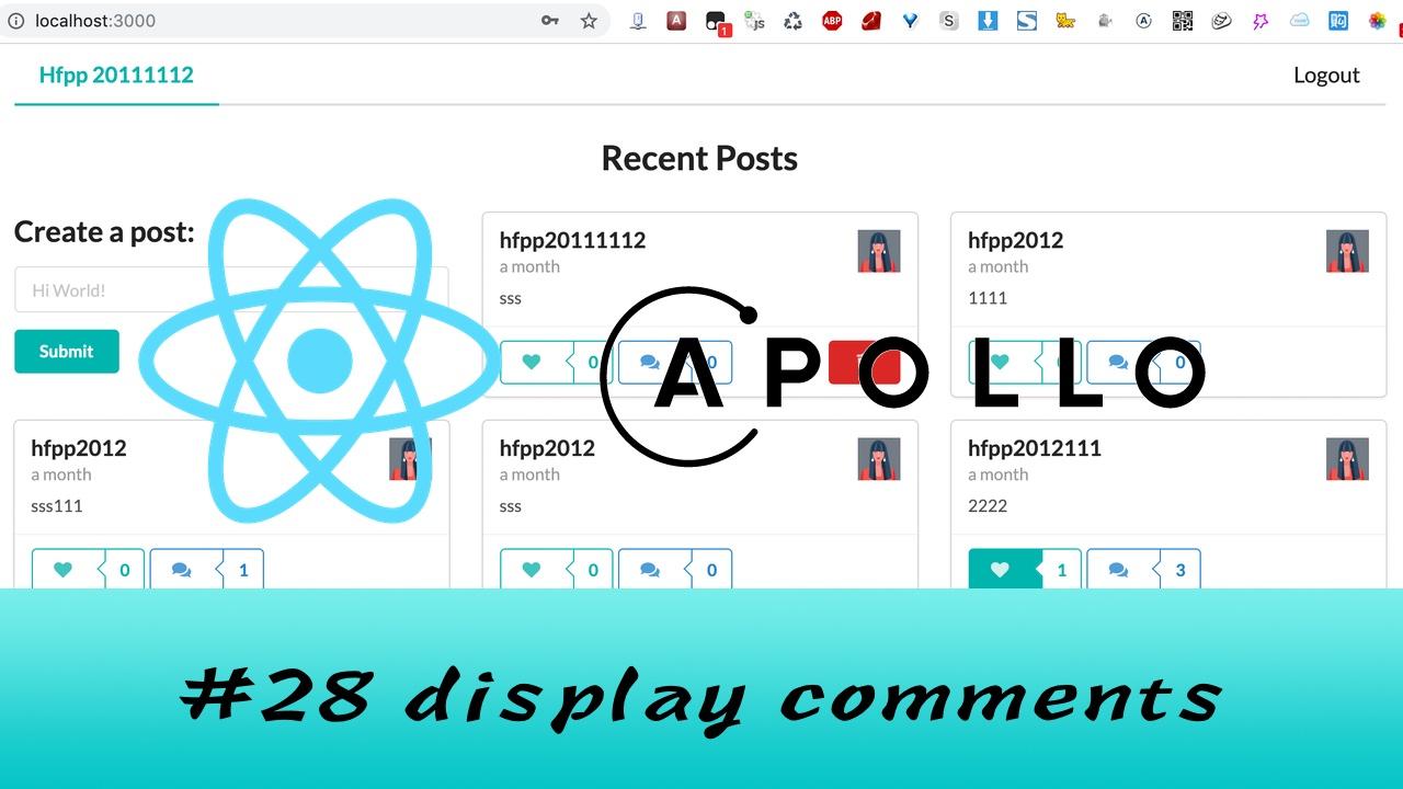 GraphQL + React Apollo + React Hook 大型项目实战 #28 显示 Post 中的所有评论(五更)
